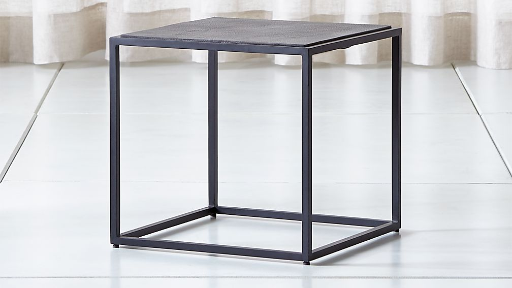 Mix Leather Imprint Low Metal Frame Side Table - Image 1 of 7
