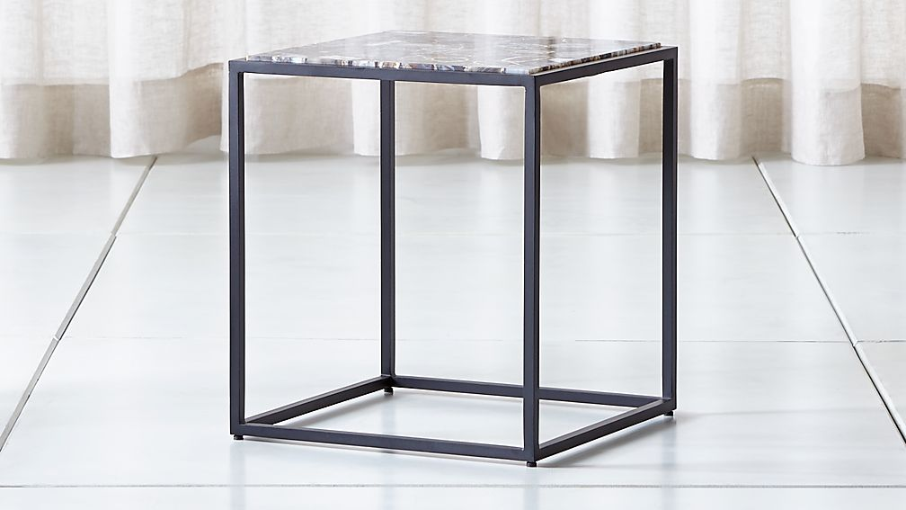 Mix Agate Tall Metal Frame Side Table - Image 1 of 5