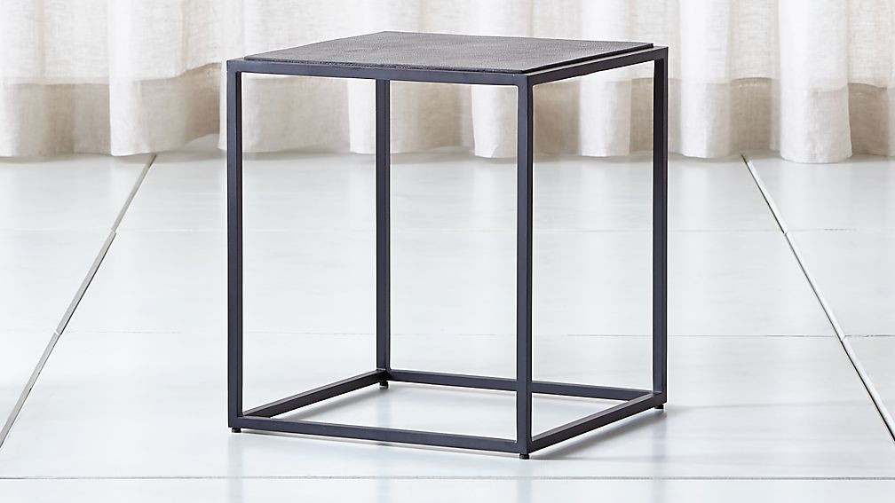 Mix Leather Imprint Tall Metal Frame Side Table - Image 1 of 8