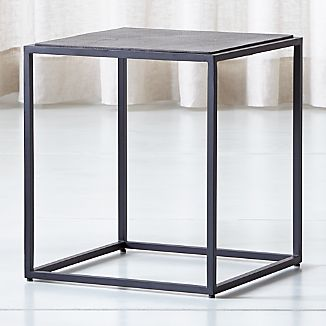 Mix Leather Imprint Tall Metal Frame Side Table