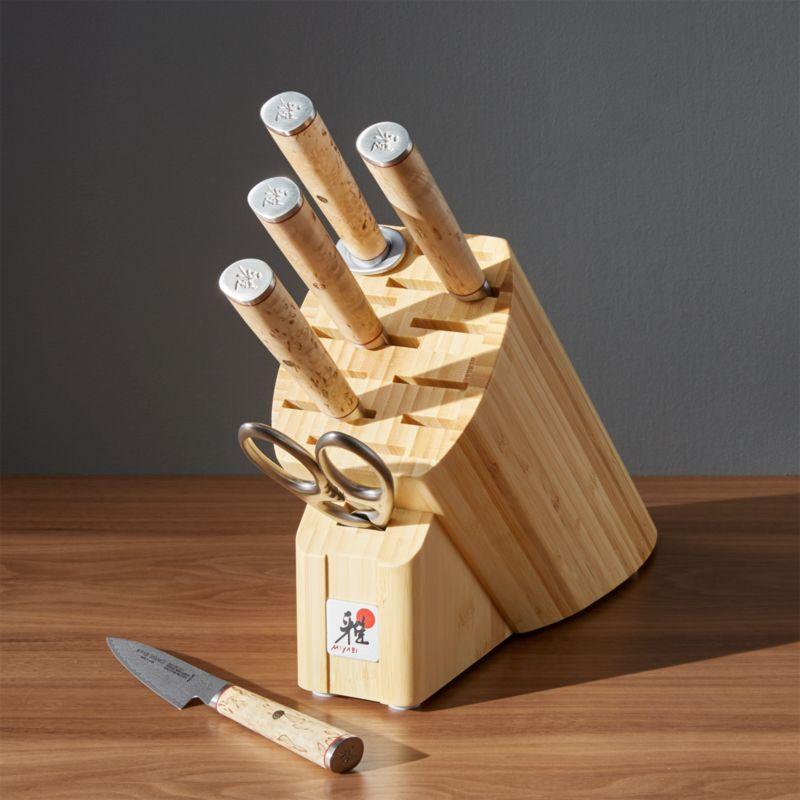 zwilling j a henckels miyabi birchwood 7 piece knife block set reviews crate and barrel. Black Bedroom Furniture Sets. Home Design Ideas