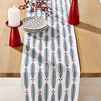 Modern Holiday Sprig Embroidered Table Runner