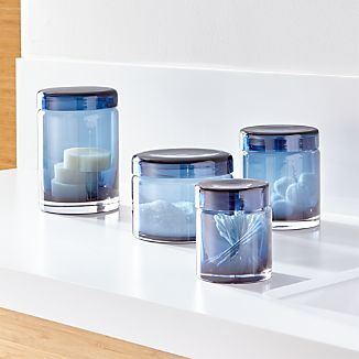 Set of 4 Mode Azure Glass Canisters