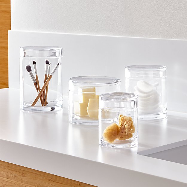 Set of 4 mode clear glass canisters crate and barrel for Clear bathroom containers