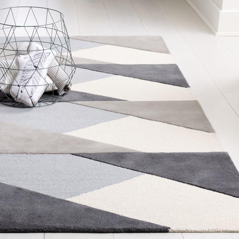 Grey Modern Geometric Rug Crate And