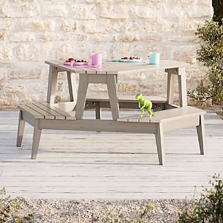 Cb2 outdoor furniture Wooden Grey Stain Modern Kids Picnic Table Crate And Barrel Cb2 Outdoor Furniture Crate And Barrel