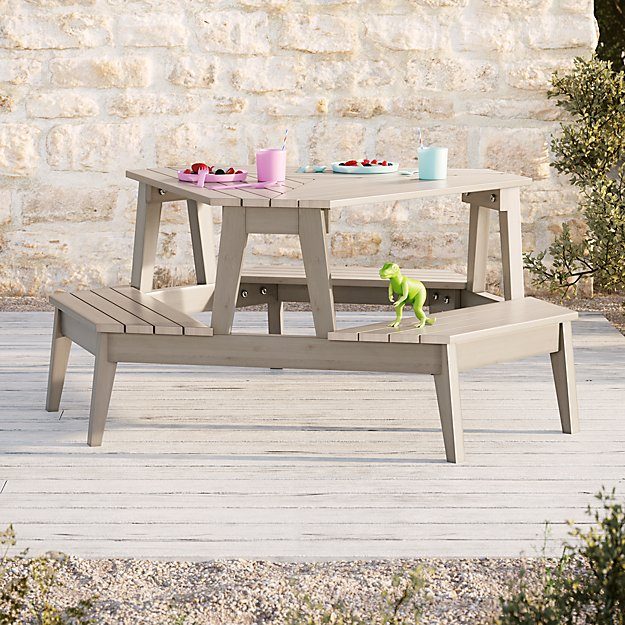 Grey Stain Modern Kids Picnic Table - Image 1 of 6