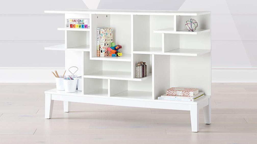 Wide White Modern Geometric Bookcase Reviews