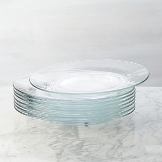 Set of 8 Moderno Dinner Plates & Clear Dinnerware | Crate and Barrel