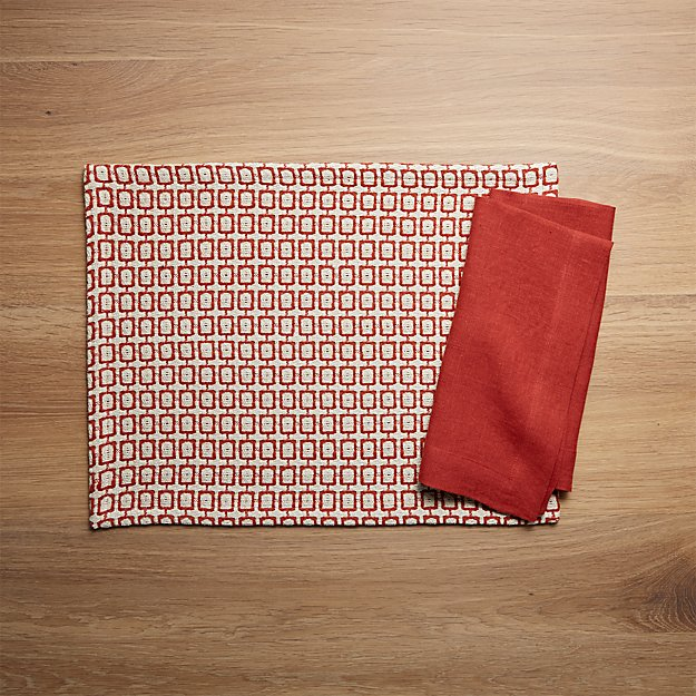 Modular Chili Placemat and Helena Chili Red Linen Dinner Napkin