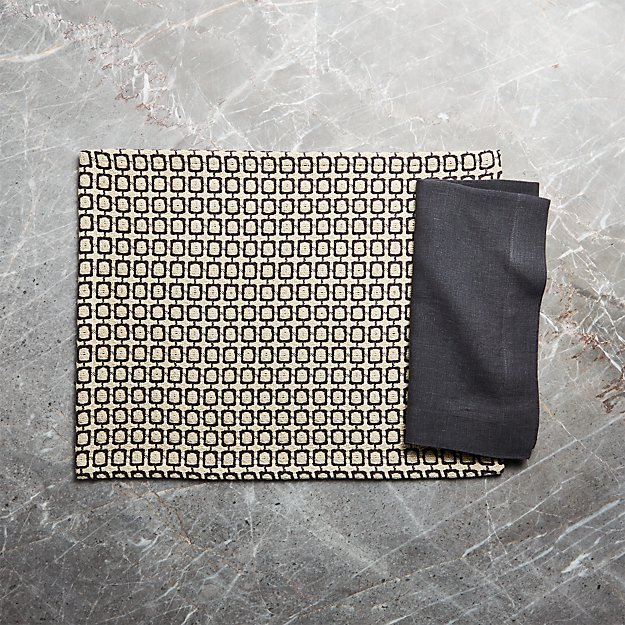 Modular Grey Placemat and Helena Graphite Linen Dinner Napkin