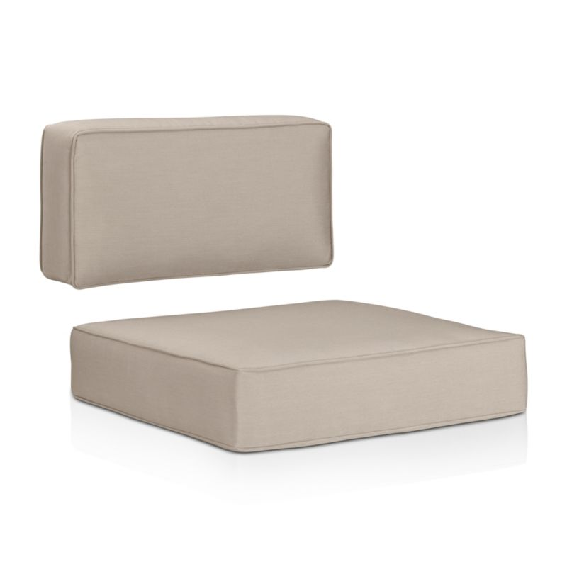 Optional deep cushions with self-welt detail are covered in fade- and mildew-resistant Sunbrella acrylic to outfit our Ventura sectional and lounge chairs. The Ventura Outdoor Sunbrella Sectional/Lounge Chair Cushions are a Crate and Barrel exclusive.<br /><br /><NEWTAG/><ul><li>Fade- and mildew-resistant Sunbrella acrylic</li><li>Foam fill</li><li>Made in USA</li></ul>