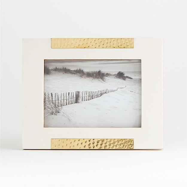 Mona White/Gold Frame 5x7 - Image 1 of 3