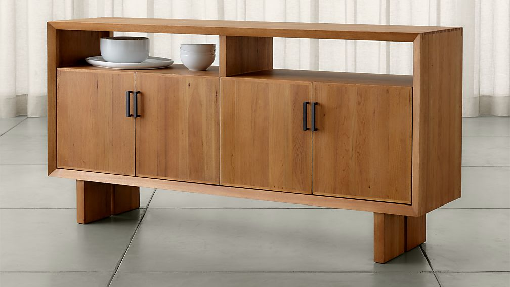 Solid Walnut Buffet ~ Monarch natural solid walnut large sideboard crate and