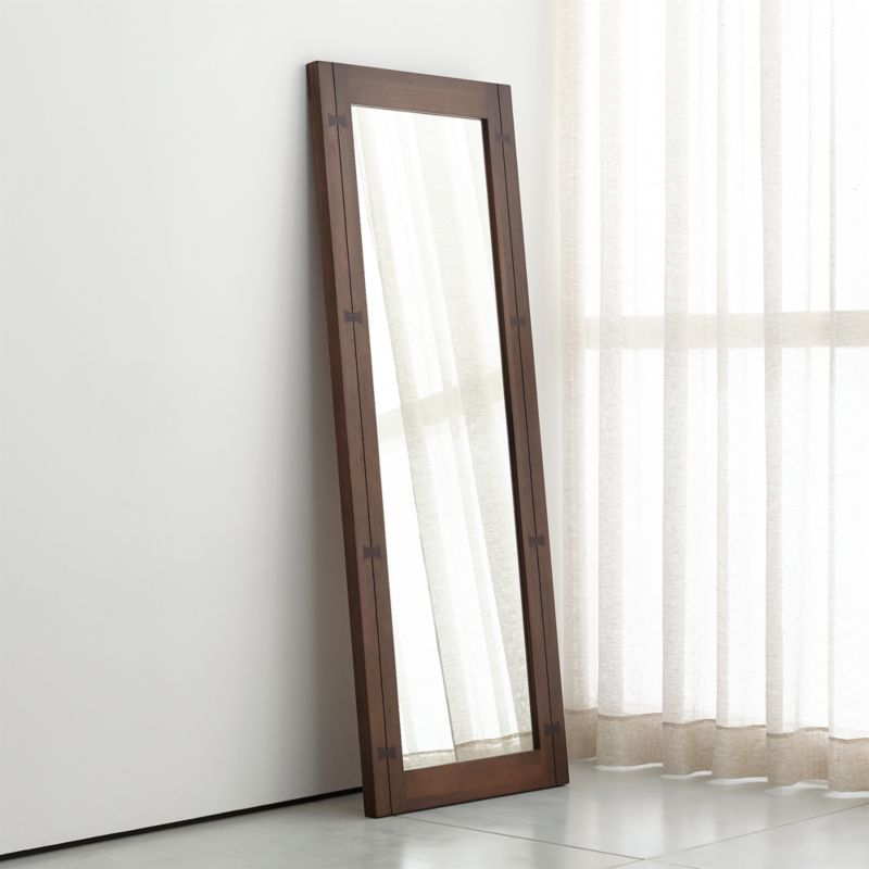 Monarch shiitake wood frame floor mirror