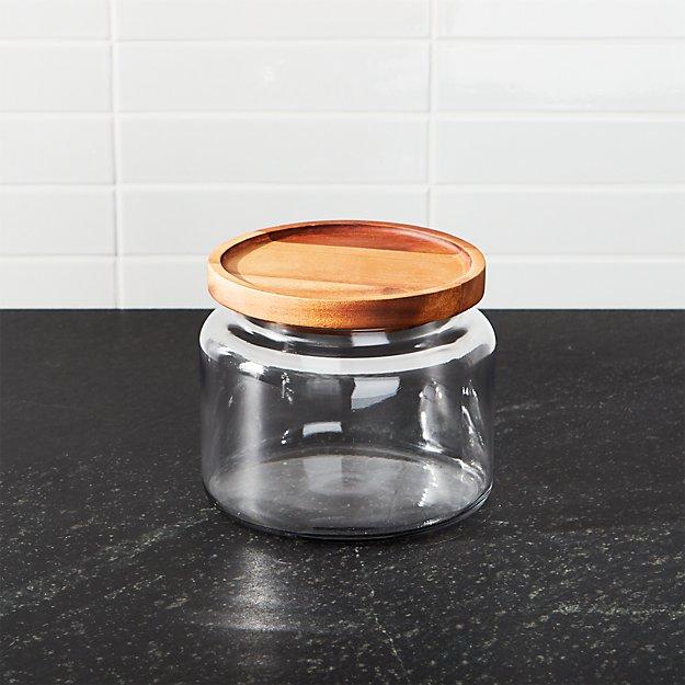 Montana 48 oz. Small Acacia and Glass Jar