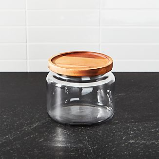 Montana 48 oz. Small Acacia and Glass Jar