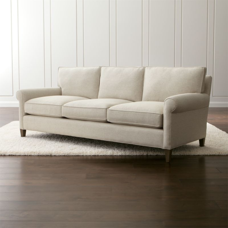 montclair 2 seat sofa cream rolled arm sofa crate and barrel. Black Bedroom Furniture Sets. Home Design Ideas