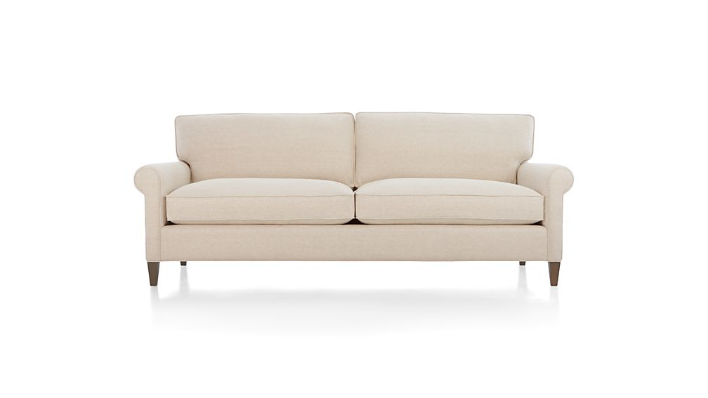 Montclair 2-Seat Sofa Cream Rolled Arm Sofa + Reviews | Crate and Barrel