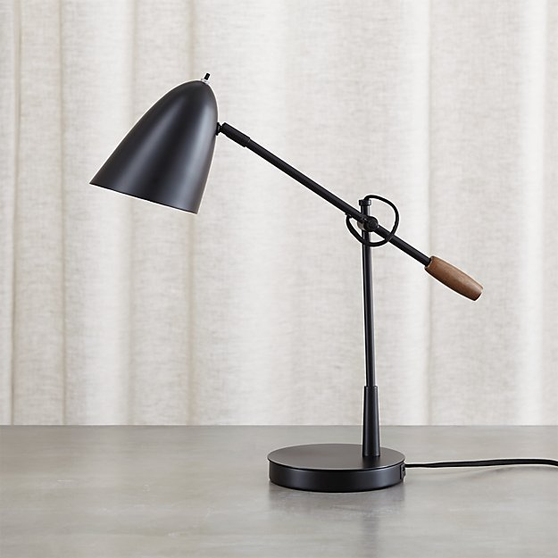 Black Desk Lamp: Morgan Black Metal Desk Lamp with USB Port,Lighting