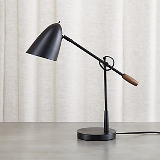 Morgan Black Metal Desk Lamp with USB Port