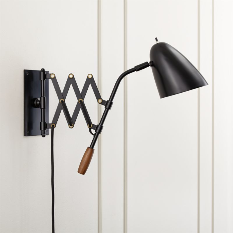 Wall Sconce With Usb : Morgan Black Sconce Crate and Barrel