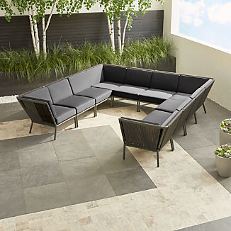 Morocco Graphite 10-Piece Sectional with Sunbrella ® Cushions
