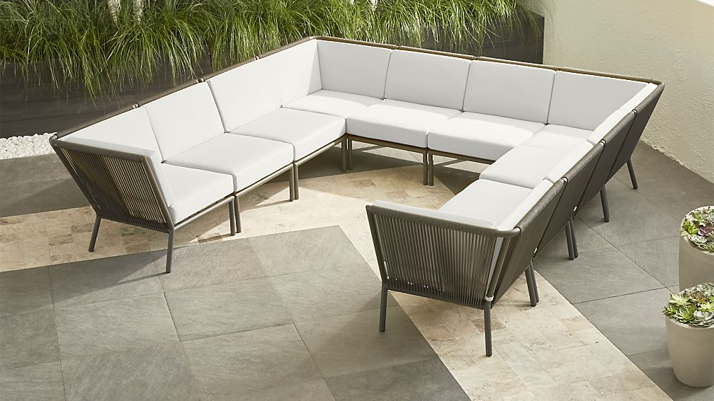 Morocco Graphite 10-Piece Sectional with White Sunbrella ® Cushions - Image 1 of 2