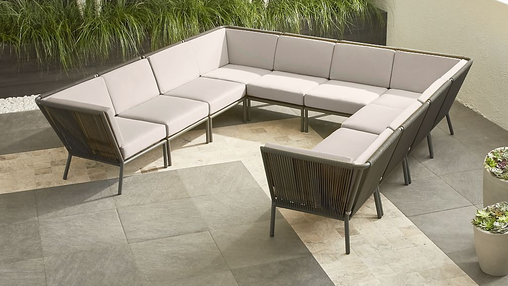 Morocco Graphite 10-Piece Sectional with Silver Sunbrella ® Cushions - Image 1 of 2