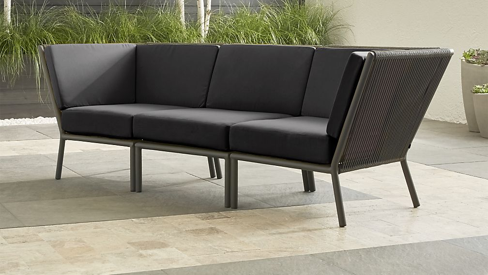 Morocco Graphite 3-Piece Sectional with Charcoal Sunbrella ® Cushions - Image 1 of 3