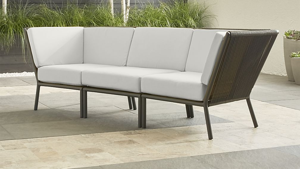 Morocco Graphite 3-Piece Sectional with White Sunbrella ® Cushions - Image 1 of 2