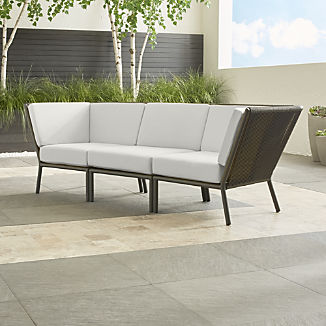 Morocco Graphite 3-Piece Sectional with White Sunbrella ® Cushions