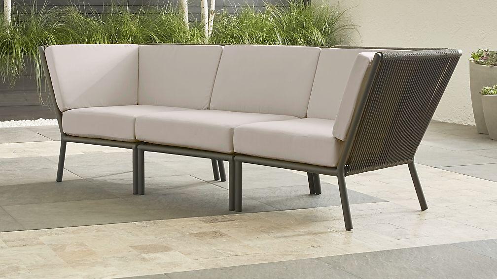 Morocco Graphite 3-Piece Sofa Sectional with Silver Sunbrella ...