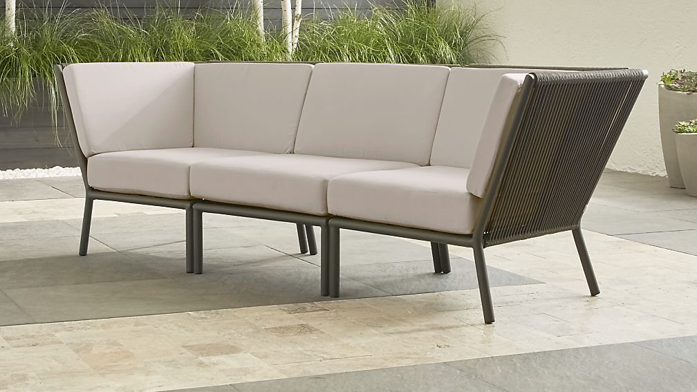 Morocco Graphite 3-Piece Sofa Sectional with Silver Sunbrella ® Cushions - Image 1 of 2
