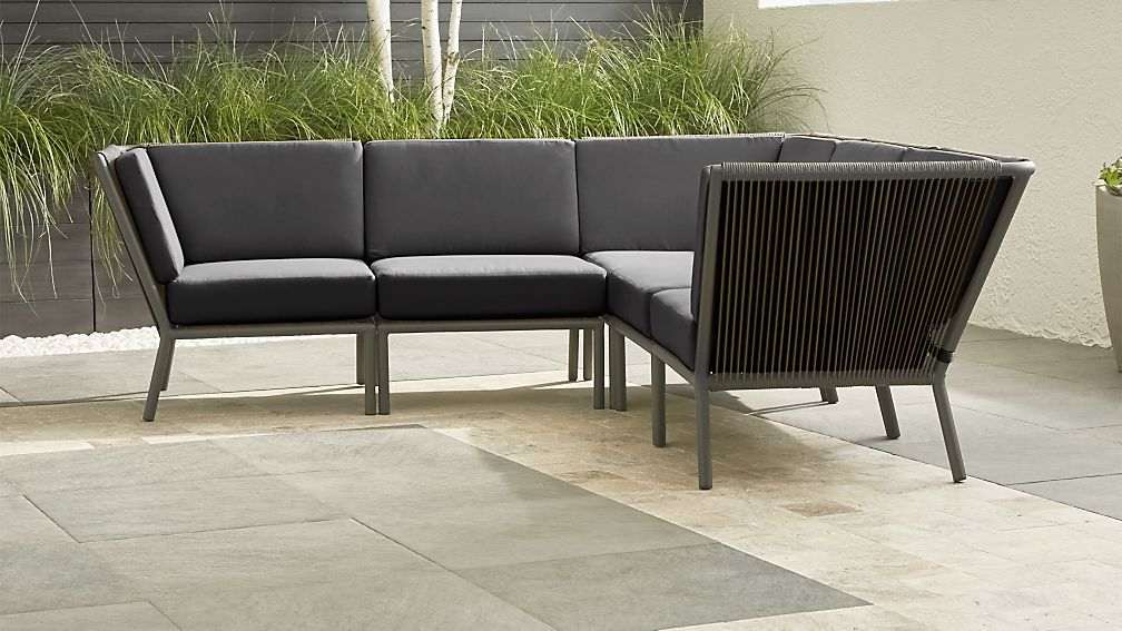 Morocco Graphite 5-Piece Sectional with Charcoal Sunbrella ® Cushions - Image 1 of 5
