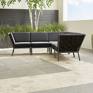 Morocco Graphite 5-Piece Sectional with Charcoal Sunbrella ® Cushions
