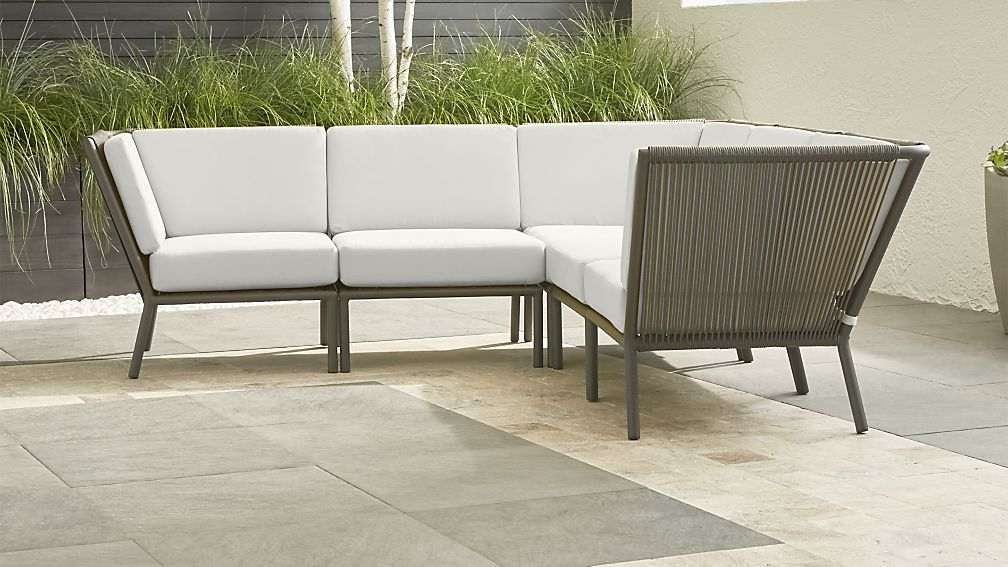 Morocco Graphite 5-Piece Sectional with White Sunbrella ® Cushions - Image 1 of 2