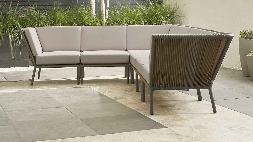 Morocco Graphite 6-Piece Sectional with Silver Sunbrella ® Cushions - Image 1 of 3