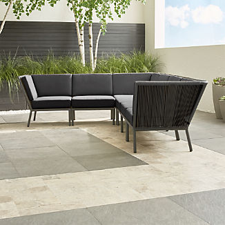 Morocco Graphite 6-Piece Sectional with Charcoal Sunbrella ® Cushions