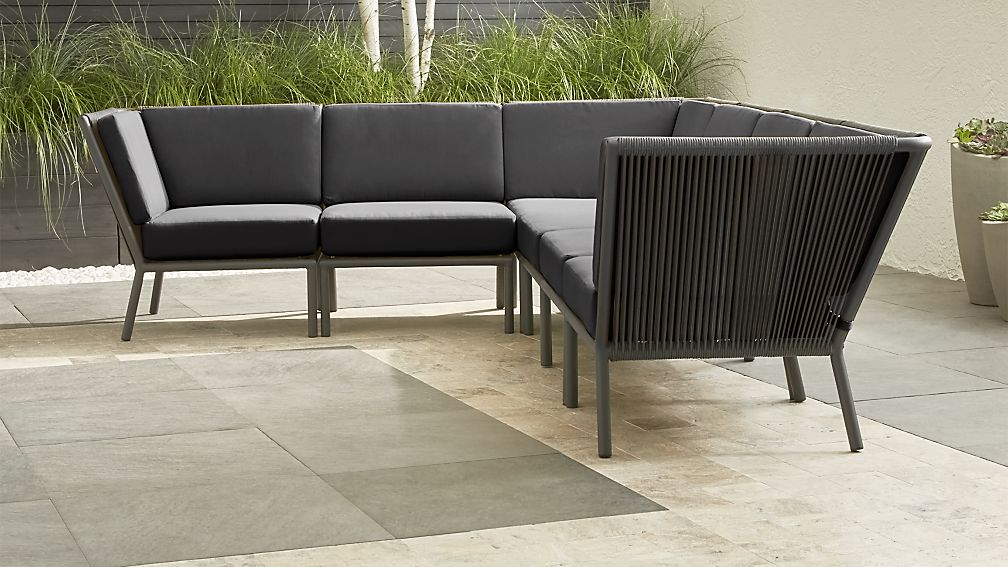 Morocco Graphite 6-Piece Sectional with Charcoal Sunbrella ® Cushions - Image 1 of 6