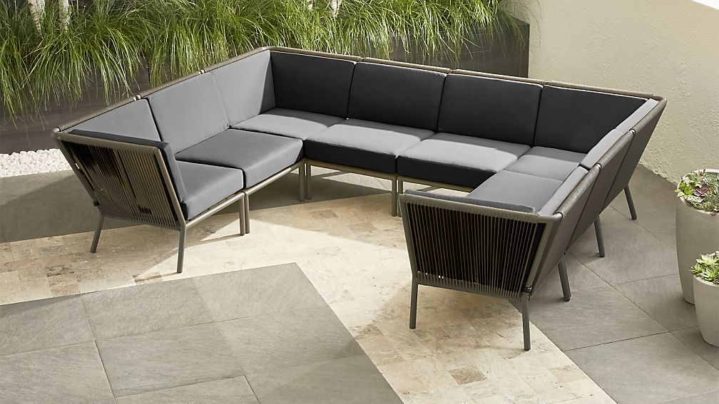 Morocco Graphite 8-Piece Sectional with Charcoal Sunbrella ® Cushions - Image 1 of 4