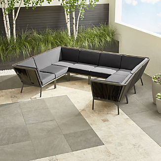 Morocco Graphite 8-Piece Sectional with Charcoal Sunbrella ® Cushions