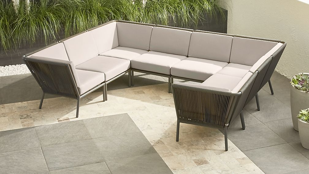 Morocco Graphite 8-Piece Sectional with Silver Sunbrella ® Cushions - Image 1 of 2