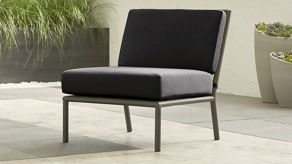 Morocco Graphite Sectional Armless Chair with Charcoal Sunbrella ® Cushion - Image 1 of 8
