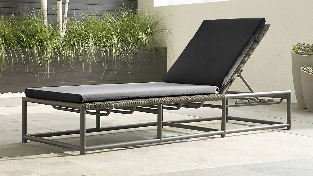 Morocco Graphite Chaise Lounge with Charcoal Sunbrella ® Cushion - Image 1 of 6
