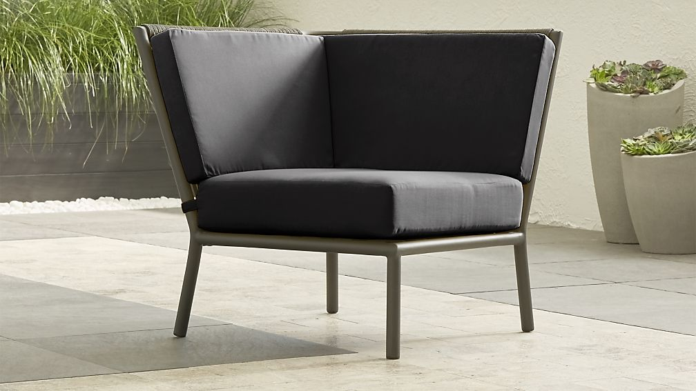 Morocco Graphite Sectional Corner with Charcoal Sunbrella ® Cushion - Image 1 of 4