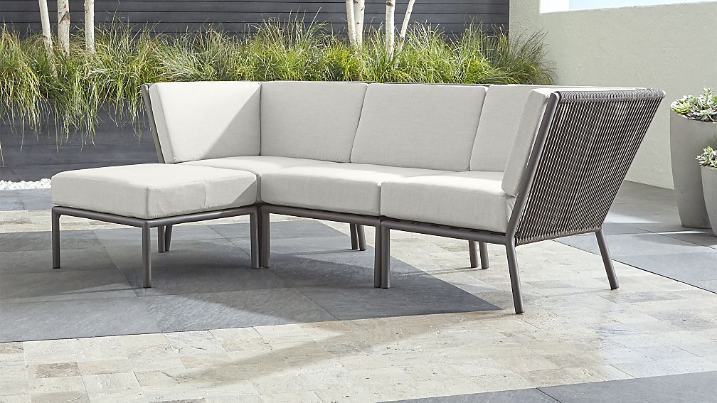 Morocco Graphite 3-Piece Sofa Sectional with Ottoman with White Sunbrella ® Cushions - Image 1 of 2