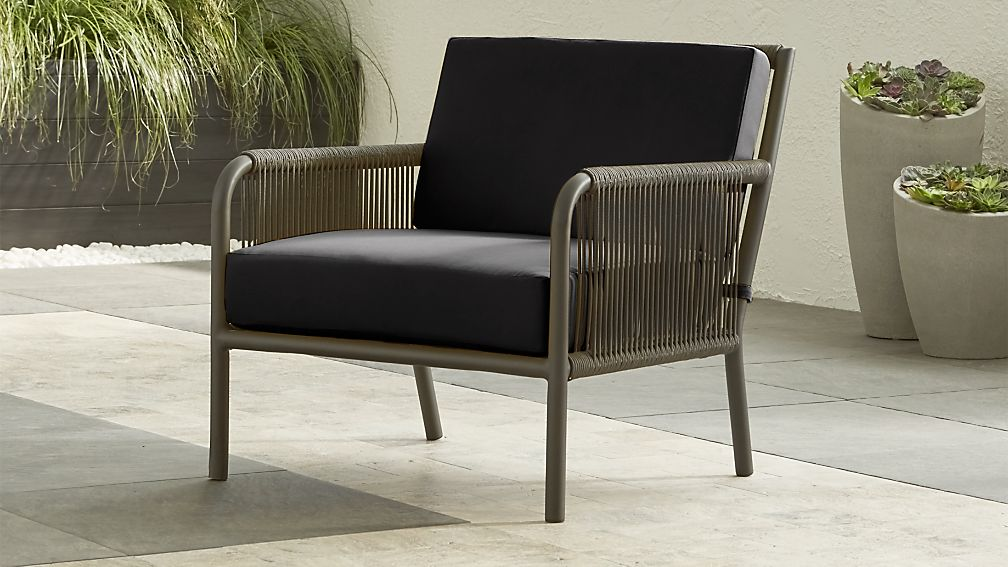 Morocco Graphite Lounge Chair With Charcoal Sunbrella