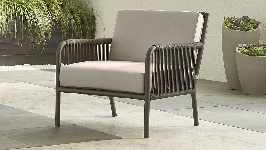 Morocco Graphite Lounge Chair With Silver Sunbrella
