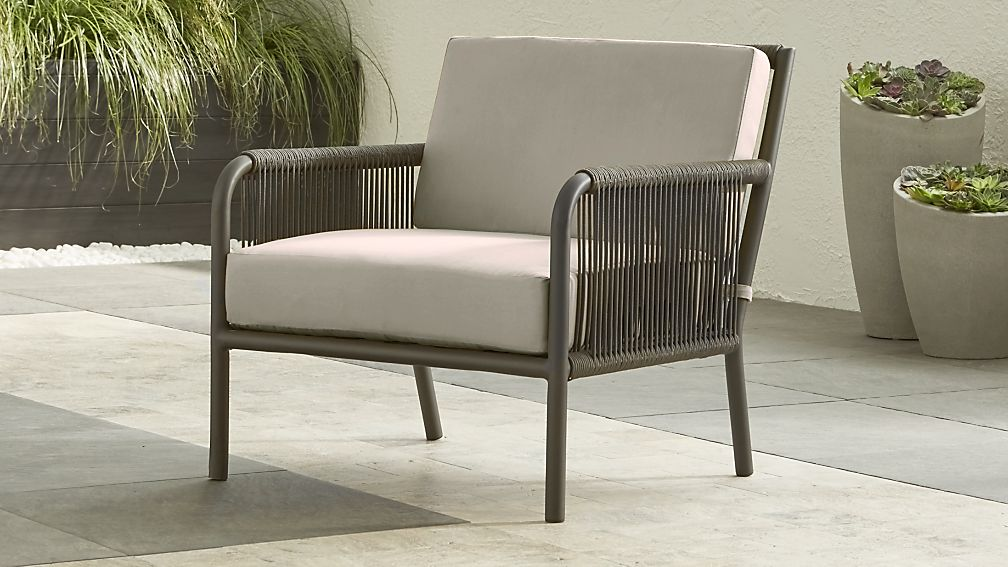 Morocco Graphite Lounge Chair with Silver Sunbrella ® Cushion - Image 1 of 6